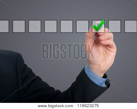 Businessman Checking Mark Checklist Marker Isolated On Grey Background