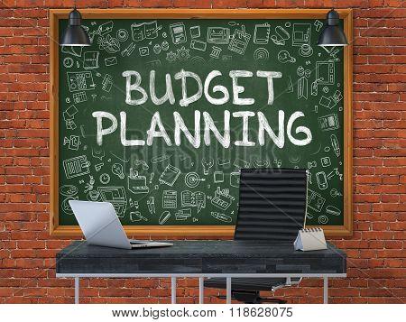 Hand Drawn Budget Planning on Office Chalkboard.