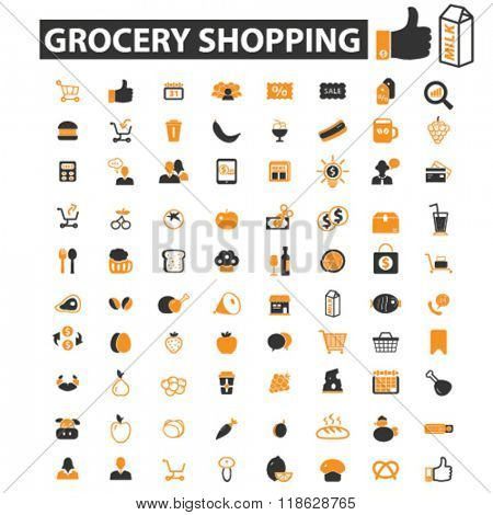grocery icons, grocery logo, shopping icons vector, shopping flat illustration concept, shopping infographics elements isolated on white background, shopping logo, shopping symbols set, food store