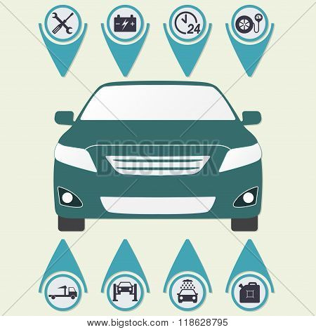 Car service Infographics. Auto service and repair icons set in flat design. Vector illustration.