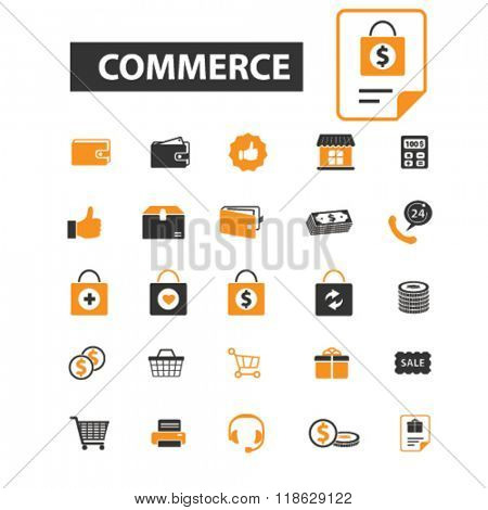 commerce icons, commerce logo, shopping icons vector, shopping flat illustration concept, shopping infographics elements isolated on white background, shopping  logo, shopping symbols set, store, shop
