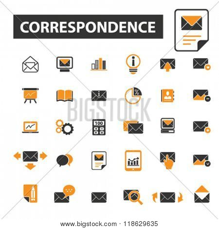 correspondence icons, correspondence logo, email icons vector, email flat illustration concept, email infographics elements isolated on white background, email  logo, email symbols set, e-mail, post