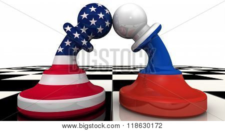 Chess pieces on the board - pawns in the colors of flags of Russia and United States bent to each other. The concept of confrontation (or combating enmity) the warring parties. The three-dimensional illustration. Isolated poster