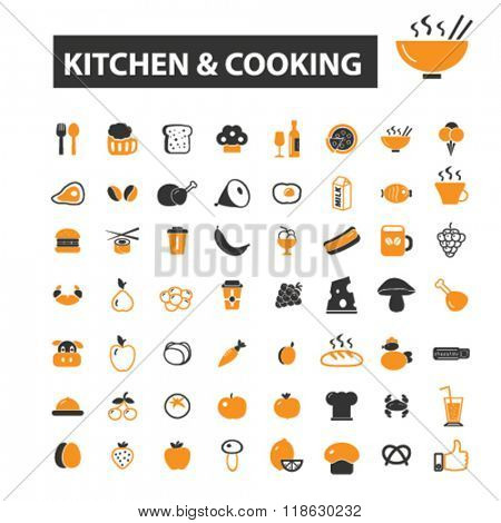 kitchen icons, kitchen logo, cooking icons vector, cooking flat illustration concept, cooking infographics elements isolated on white background, cooking logo, cooking symbols set, dish, dinner, food