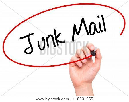 Man Hand Writing Junk Mail With Black Marker On Visual Screen