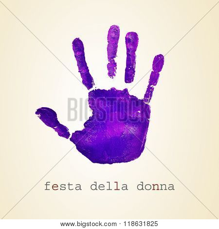 a violet handprint and the text festa della donna, womens day in italian, on a beige background