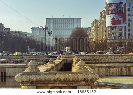 Bucharest Unirii Square With Palace Of The Parliament