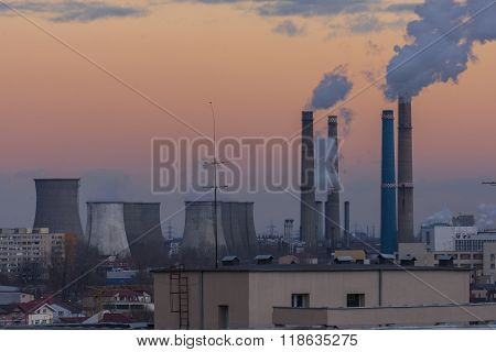 Power Plant Polluting The Environment