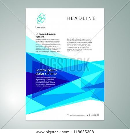 Vector geometric abstract blue background. Template leaflet, poster, banner.
