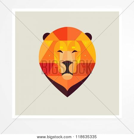 Lion. Vector geometric animals. Geometric lion poster