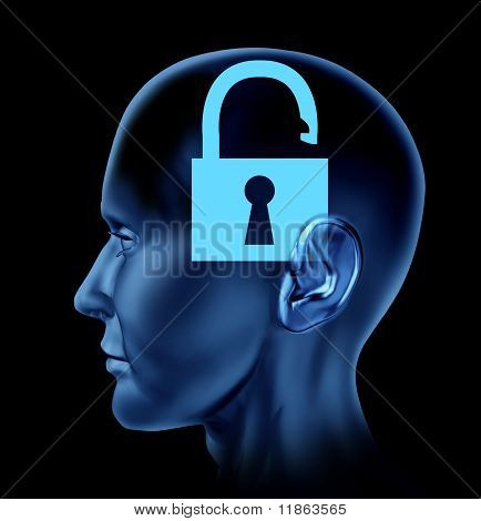 Blue human head with open lock symbol.