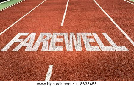 Farewell written on running track