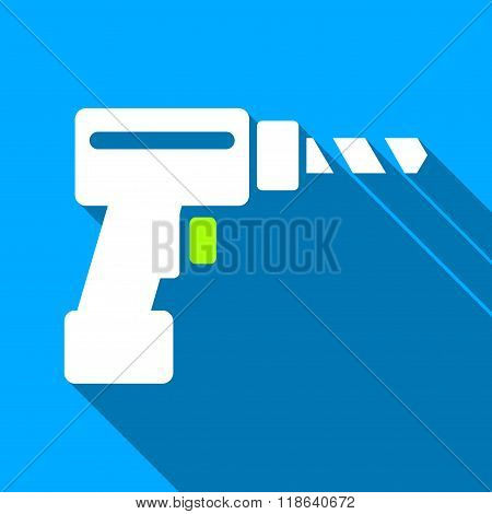 Drill Flat Long Shadow Square Icon
