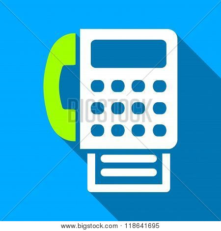 Fax Flat Long Shadow Square Icon