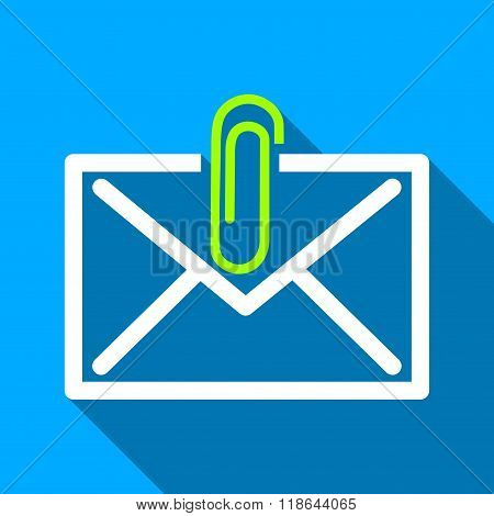 Mail Attachment long shadow vector icon. Style is a flat light symbol with rounded angles on a blue square background. poster