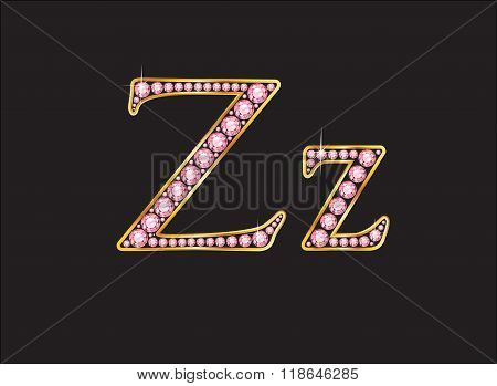 Zz Rose Quartz Jeweled Font With Gold Channels