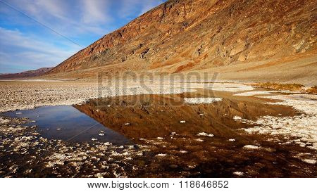 Pool Of Water In Badwater Basin In Death Valley