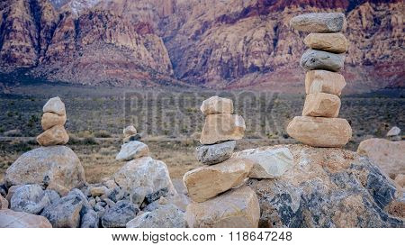 Stacked Rocks In Red Rock Canyon Near Las Vegas