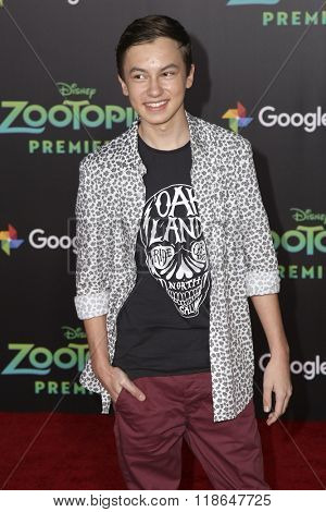 LOS ANGELES - FEB 17:  Hayden Byerly at the Zootopia Premiere at the El Capitan Theater on February 17, 2016 in Los Angeles, CA