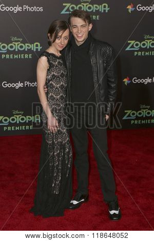 LOS ANGELES - FEB 17:  Allisyn Ashley Arm, Dylan Riley Snyder at the Zootopia Premiere at the El Capitan Theater on February 17, 2016 in Los Angeles, CA