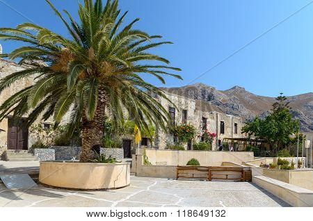 PREVELI, CRETE, GRECE - AUGUST 21, 2013: Beautiful palm at Moni Preveli monastery , located on Crete island