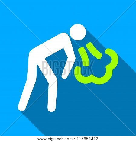 Vomiting Person Flat Long Shadow Square Icon