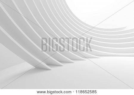 3d White Column Interior. Abstract Architecture Background