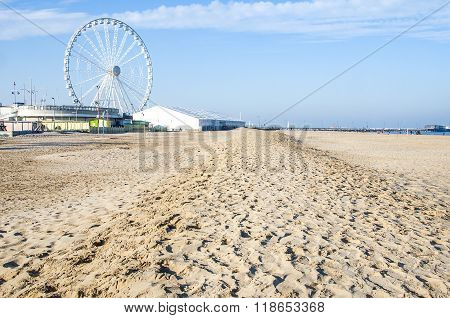 Rimini Empty Beach Winter Ferris Wheel Sand Trampled