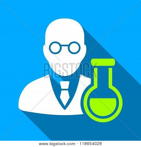 Chemist With Retort Flat Long Shadow Square Icon