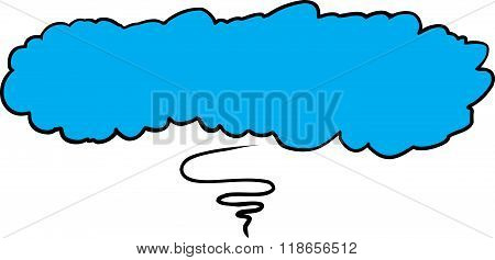 Blue Thought Bubble With Squiggly Line