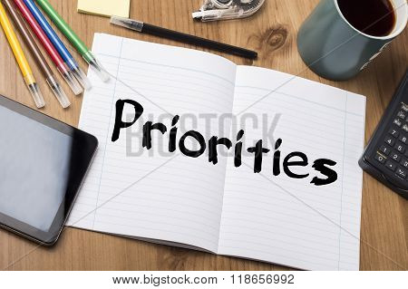 Priorities - Note Pad With Text