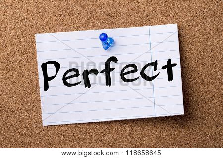 Perfect - Teared Note Paper Pinned On Bulletin Board