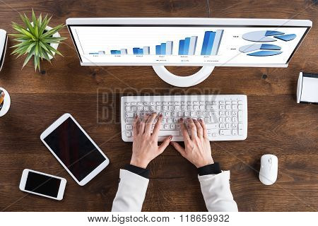 Businessperson Analyzing Graph On Computer