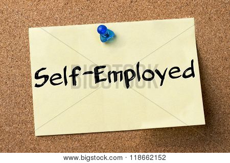 Self-employed - Adhesive Label Pinned On Bulletin Board