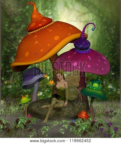 Fairy Daina relaxes on a rock surrounded by colorful fantasy mushrooms and flowers in the magical forest. poster