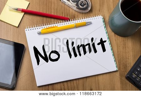 No Limit - Note Pad With Text