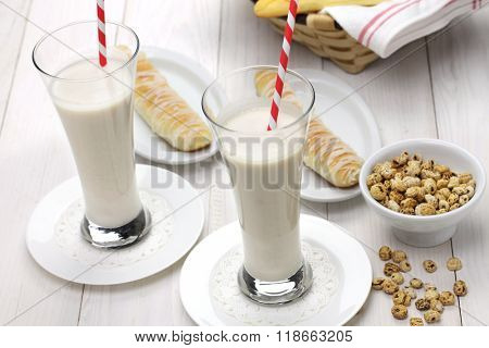 homemade horchata and fartons,spanish valencia soft drink and bread