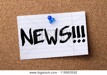 News!!! - Teared Note Paper Pinned On Bulletin Board