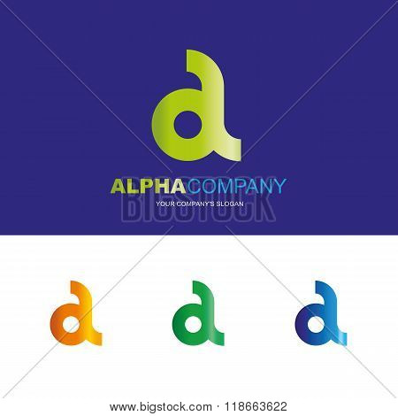 A letter - vector logo design concept illustration. Alpha abstract t letter logo sign for business company. Alpha letter logo corporate identity - visit card, poster, folder, brochure cover.