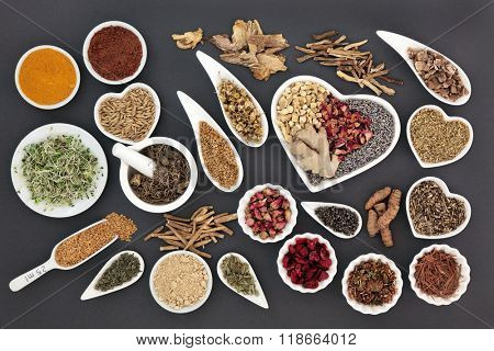 Healing herb selection for women used in natural alternative medicine. poster