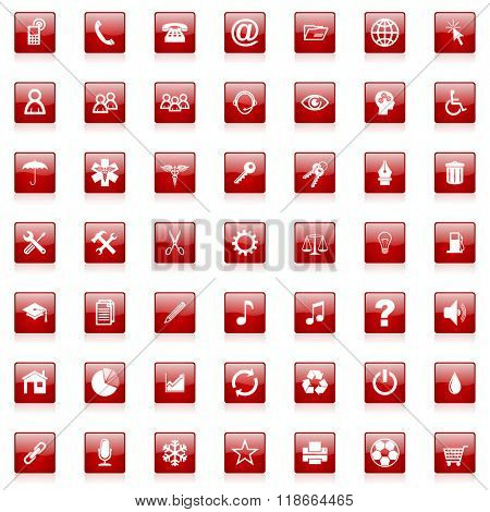 red square business glossy web icons set