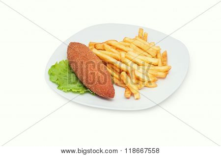 Chicken Kiev With French Fries Isolated On White Plate