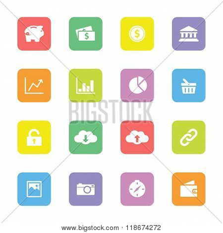 Colorful Web Icon Set 4 On Rounded Rectangle