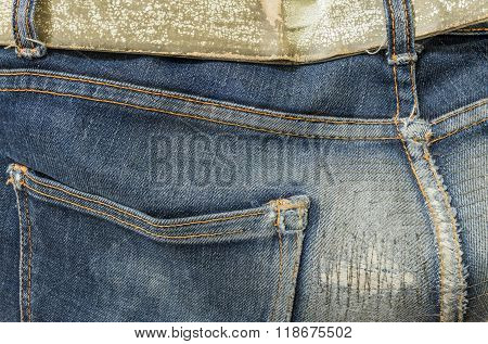 Closeup At Old And Repaired Jean Trousers Background