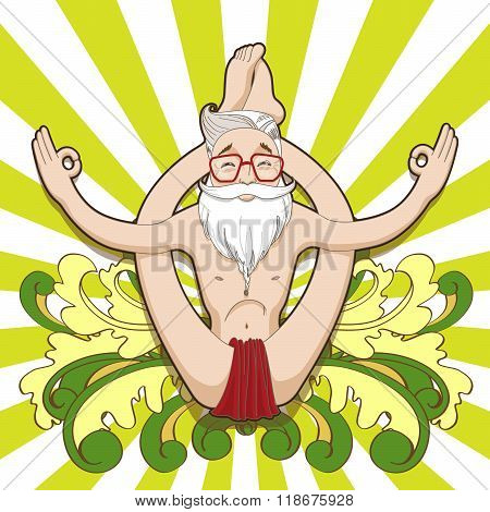 Funny hipster meditating in a yoga pose.