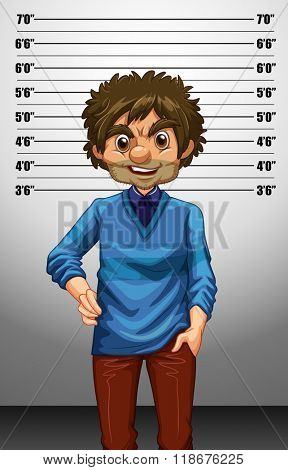 Man with measuring height illustration