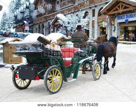 Taditional fiaker in famous ski vacation resort Courchevel, France
