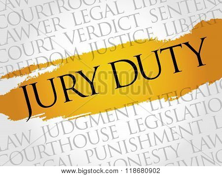 Jury Duty word cloud collage concept, presentation background