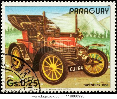 Old Car Wolseley (1904) On Postage Stamp