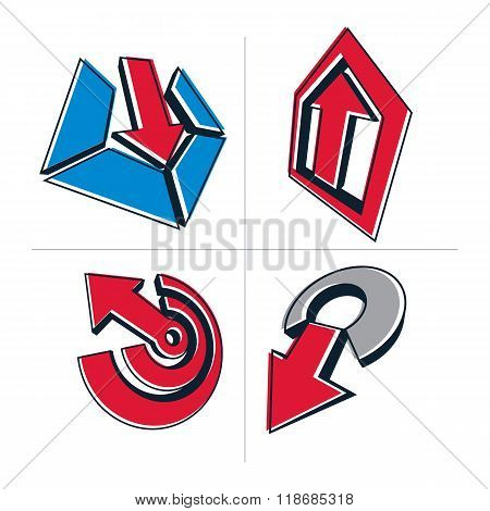 Set Of 3D Abstract Symbols, Arrows. Business Growth Concept Vector Design Elements, Innovations Them